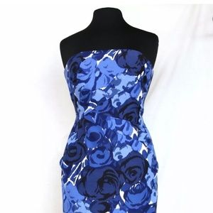 SEXY Blue Floral Strapless Fitted Cocktail Dress